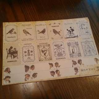 復古味 小鳥,清新, 鄉村風紙貼紙 韓國製