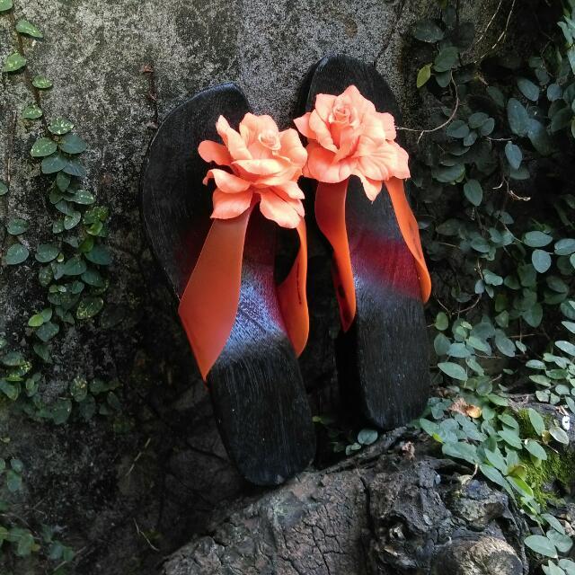 (可換物)春夏花木拖鞋