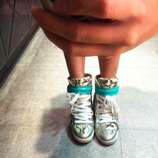韓國蛇皮紋高統綁帶球鞋