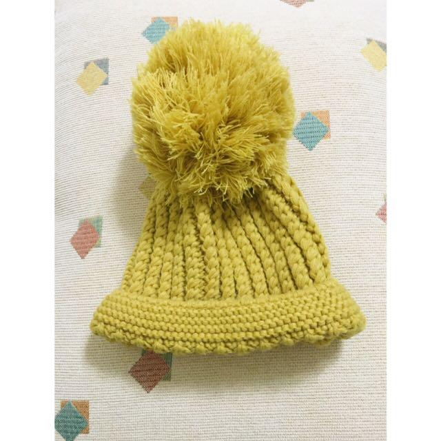 芥黃粗針毛帽(全新)$100