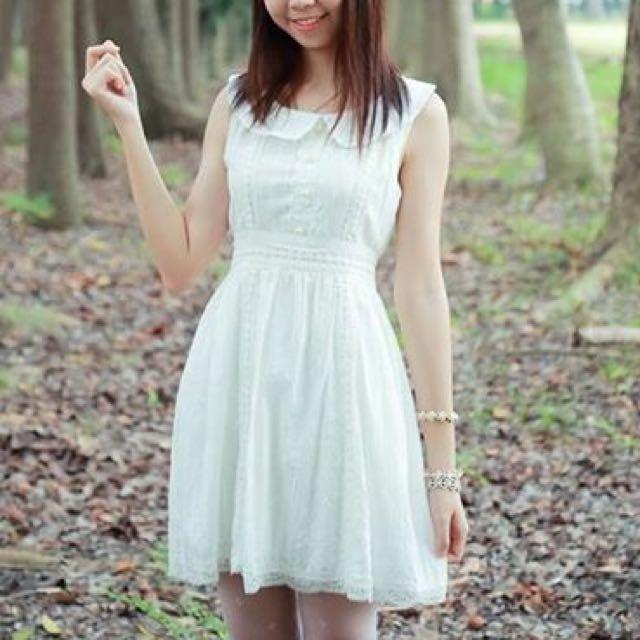 含運📮日系仙女風蕾絲白色洋裝
