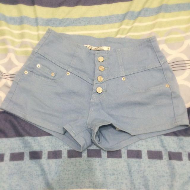 🌱馬卡龍淺藍 高腰短褲