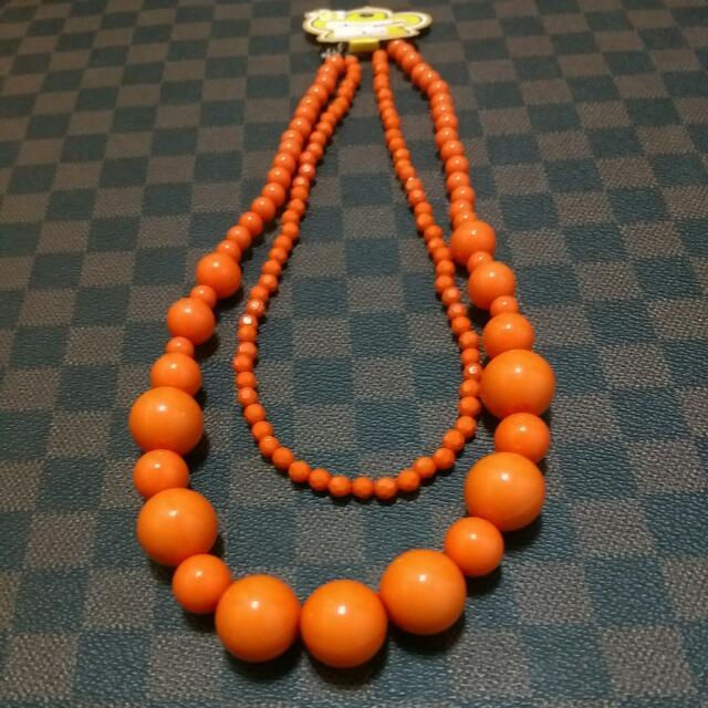 全新   雙層橘色項鍊
