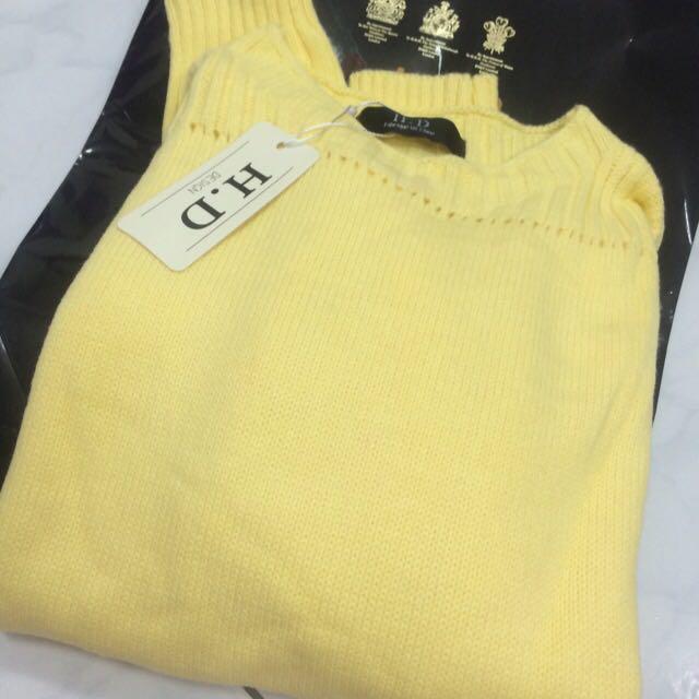 全新 長袖針織衫 黃