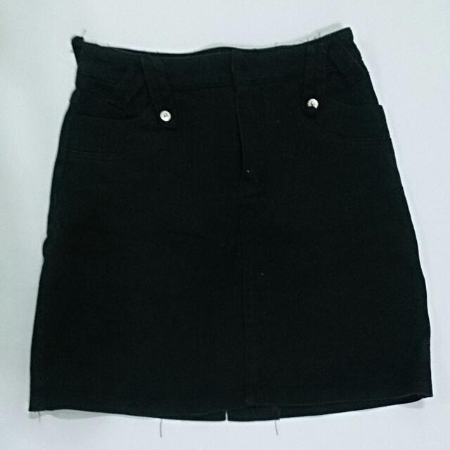 二手 黑色 牛仔短裙 免運