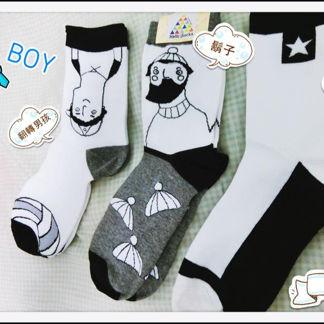 韓系 個性 漫畫 俏皮 上班族 男孩女孩 潮流穿搭 中筒襪 任選兩件150元