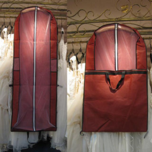 婚紗收納袋 (防塵袋 禮服袋 婚紗袋 行動 方便 喜氣紅色 禮服三折手提禮服 自助婚紗必備 婚紗拍攝道具)