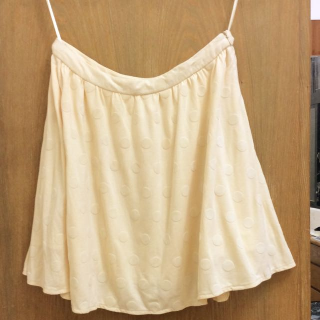 專櫃 bread n butter 鵝黃質感圓點棉質圓裙 植絨圓點設計 全新
