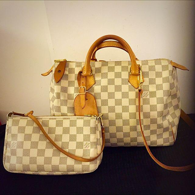 7de955d3375b Authentic Louis Vuitton Damier Azur Speedy 30 Bag