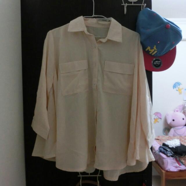 Blackvin口袋雪紡襯衫(杏色)