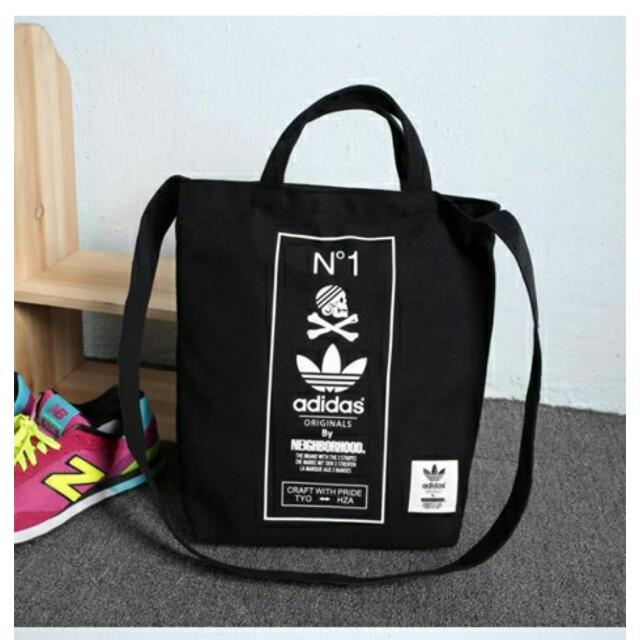 28d44924164 BN Adidas Originals by Neighborhood Canvas Tote Bag, Women s Fashion on  Carousell