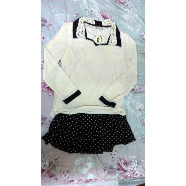 Dian's   雪紡蕾絲上衣 小原點短褲裙(二手)