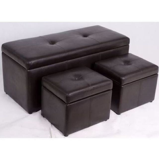 New Leather Storage Box Seat Bench Stool Chair Sofa Ottoman