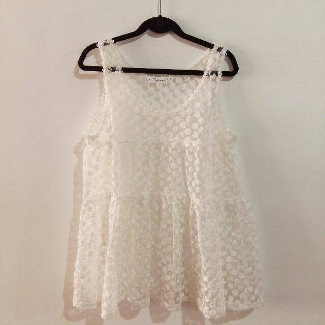 P+*透膚小花短洋裝