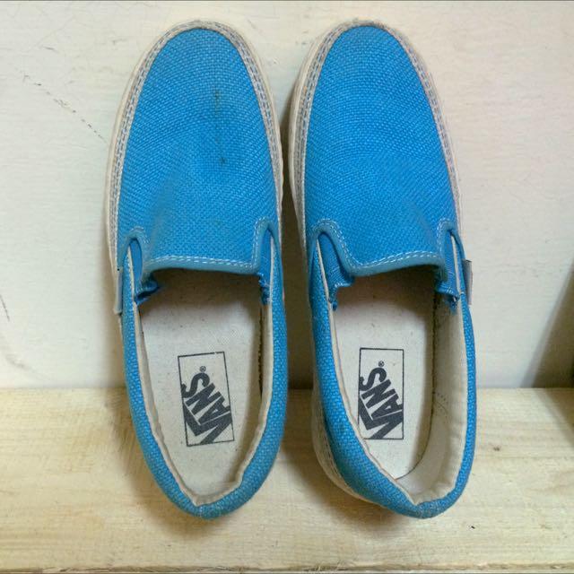 【二手】VANS 懶人鞋 藍色 七成新 23cm