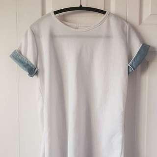 袖子很可愛的白色棉上衣