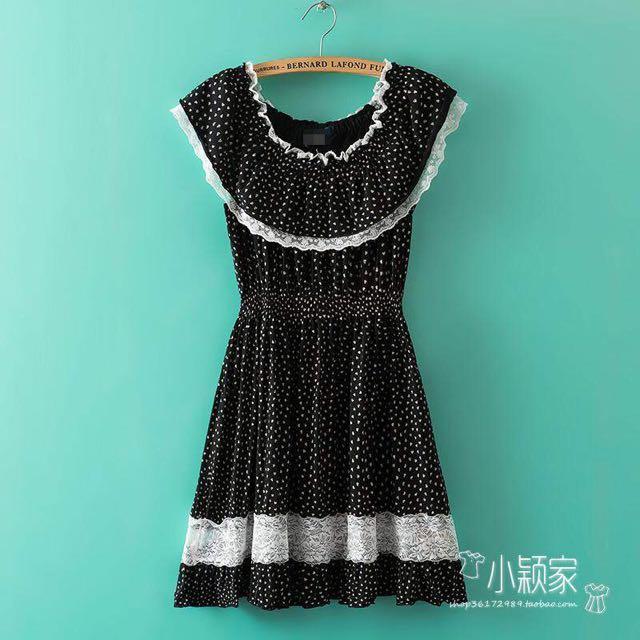 現貨06🍭荷葉邊飛袖收腰顯瘦飄逸連衣裙