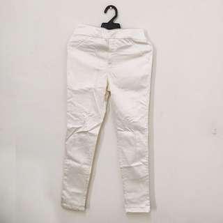 韓國珍珠白鬆緊長褲 M