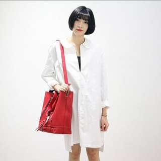 White Great Quality Cotton Oversized Dress
