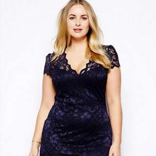 V-Neck Lace Midi Dress with Crop Sleeves Reduced Including postage
