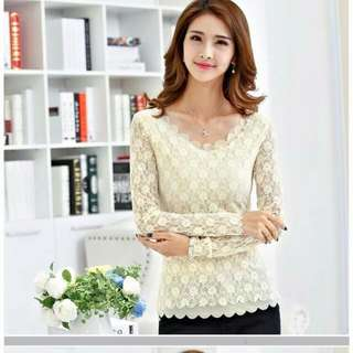 Pre Order | V-Neck Pattern Lace Long Sleeve Top ]