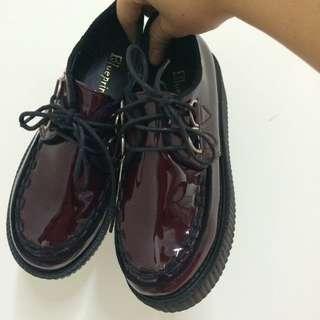古著漆皮酒紅厚底鞋