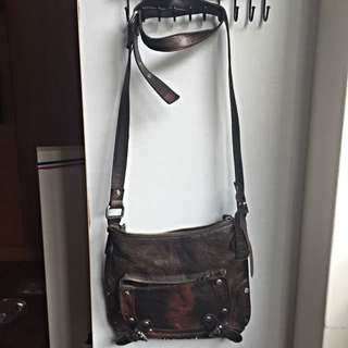 TOPSHOP Leather Cross Body Satchel with Adjustable Straps