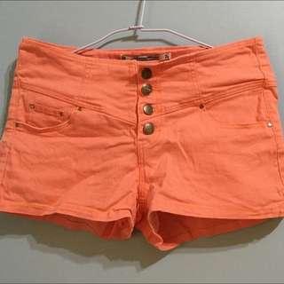 高腰亮橘色短褲 L號