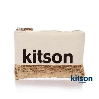正品✨ kitson 白金亮片拼接化妝包/隨身包 💕