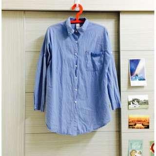 大叔藍長版襯衫