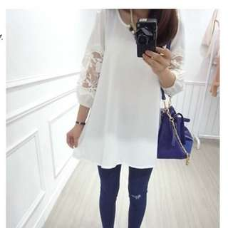 轉 Senseholic 白色蕾絲拼袖透膚洋裝上衣