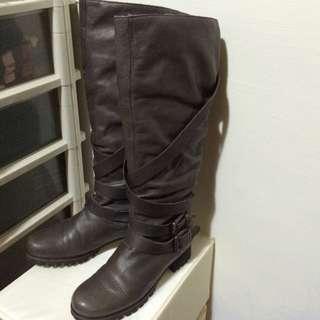 ZARA真皮工作靴(鐵灰)