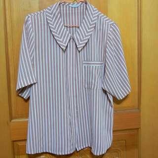 復古粉紅白條紋短袖雪紡襯衫
