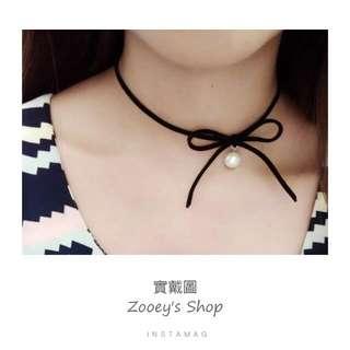 🌜手作韓國絨繩頸鍊-超美蝶結珍珠款🌛