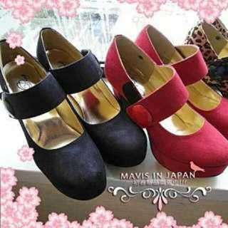 轉賣Mavis in jp 厚底粗跟瑪莉珍鞋-黑24.5/39號