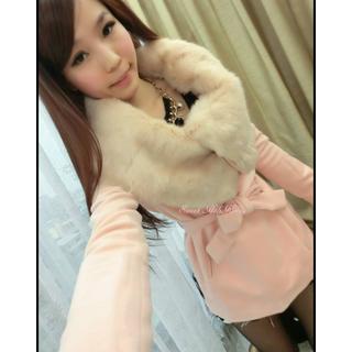 轉賣 粉紅色正韓 韓國甜美質感超大兔毛領 翻領顯瘦綁帶毛呢外套大衣 mussa sweetholikorea oshare