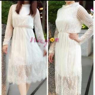 蕾絲及膝長洋裝純白氣質裙子