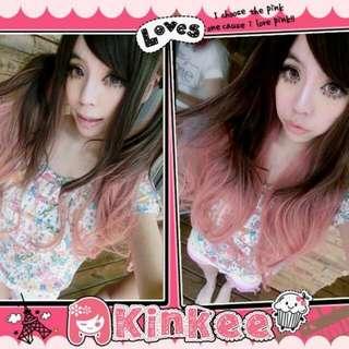 Kinkee假髮 日本GAL系小惡魔電力100%時下最流行漸層雙色耐熱長捲髮(粉)