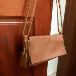 『全新』韓國製手作真皮肩背側背小包