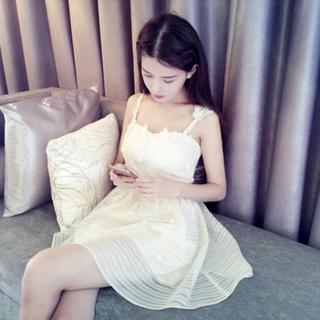 立體蝴蝶細肩帶連身裙 #伴娘服