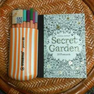 『降價』秘密花園明信片組+ 德國天鵝STABILO簽字筆
