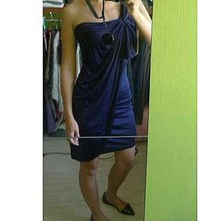 ✈正✈ASOS  深藍色斜肩 Greek 洋裝, UK size 8