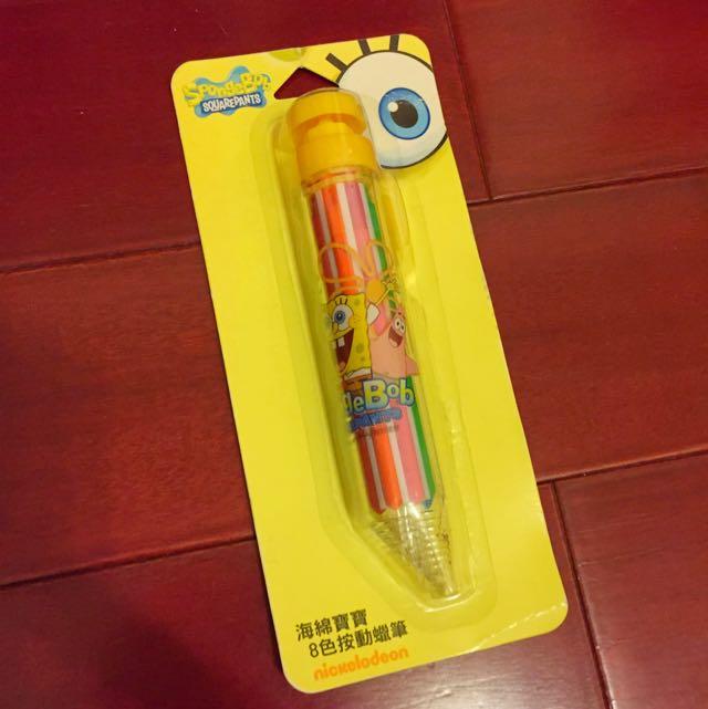 全新海綿寶寶8色按動蠟筆