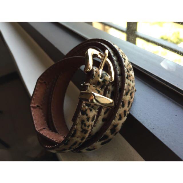 豹紋絨皮小繫皮帶(9%)$50