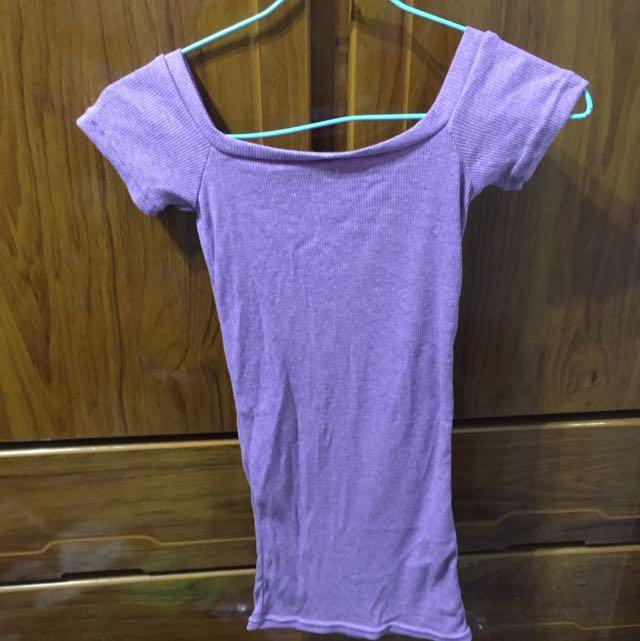 平口紫色螺旋上衣彈性