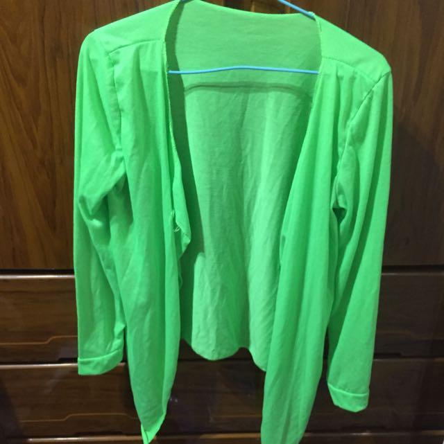 螢光綠色防曬罩衫外套