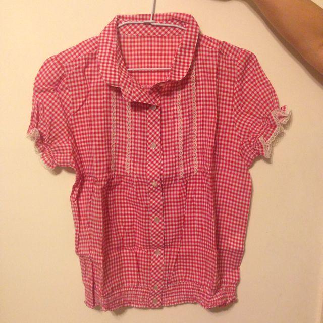 日系格子襯衫(紅)