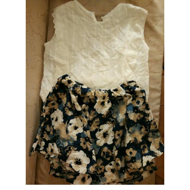 無袖白色+花花裙