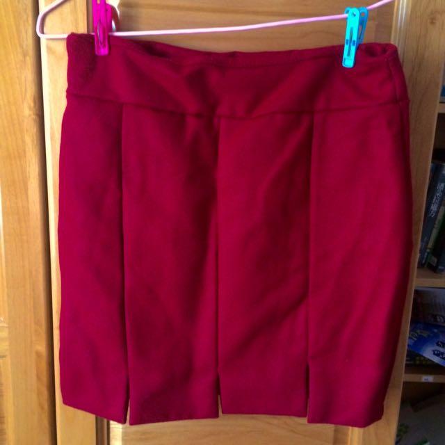 (含運)韓版深紅色窄裙 全新