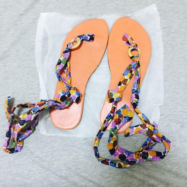 全新 橘色綁帶涼鞋